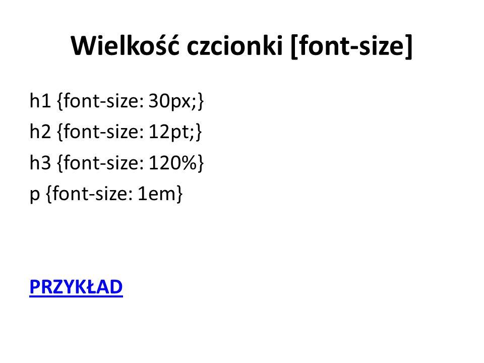Wielkość czcionki [font-size]